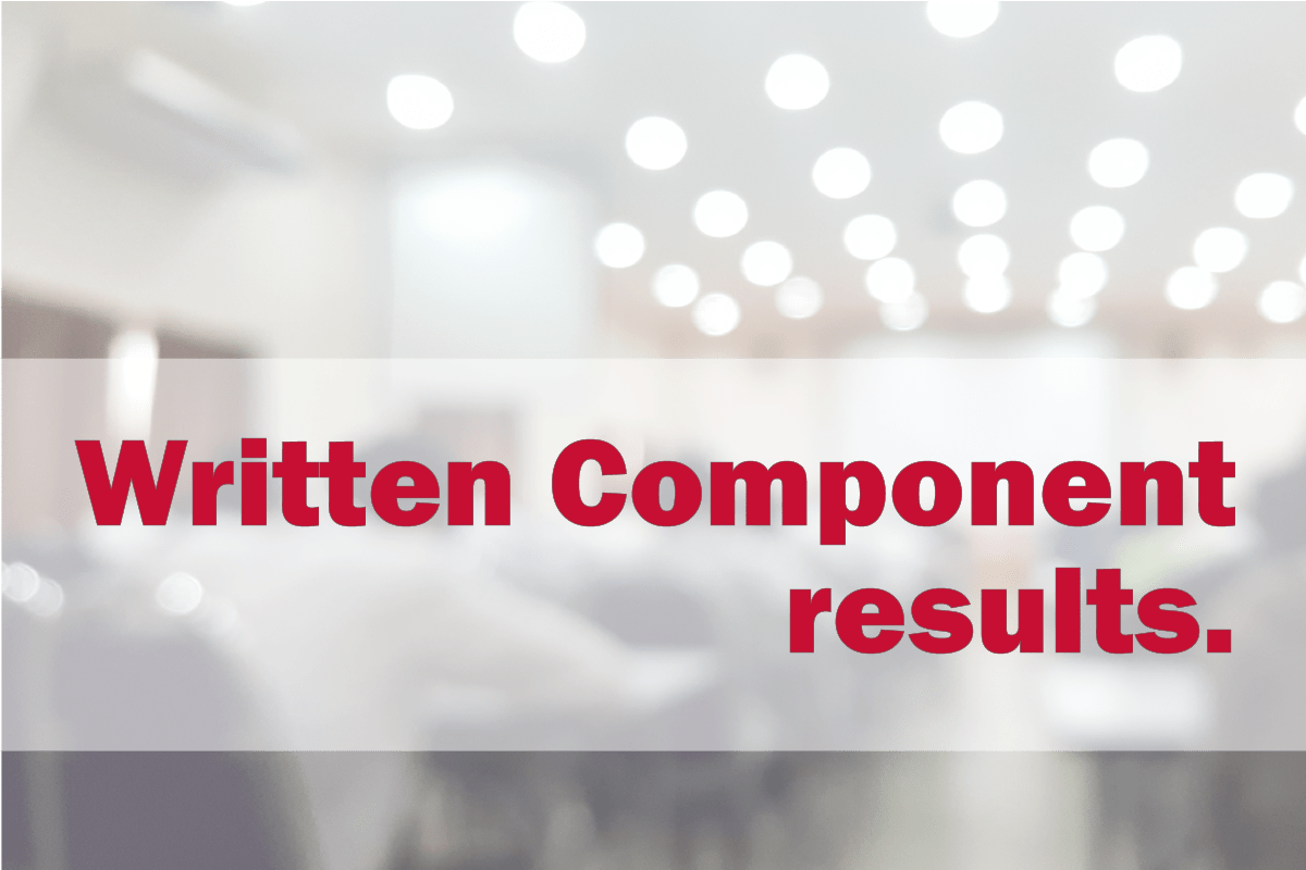 October 2020 Written Component Results