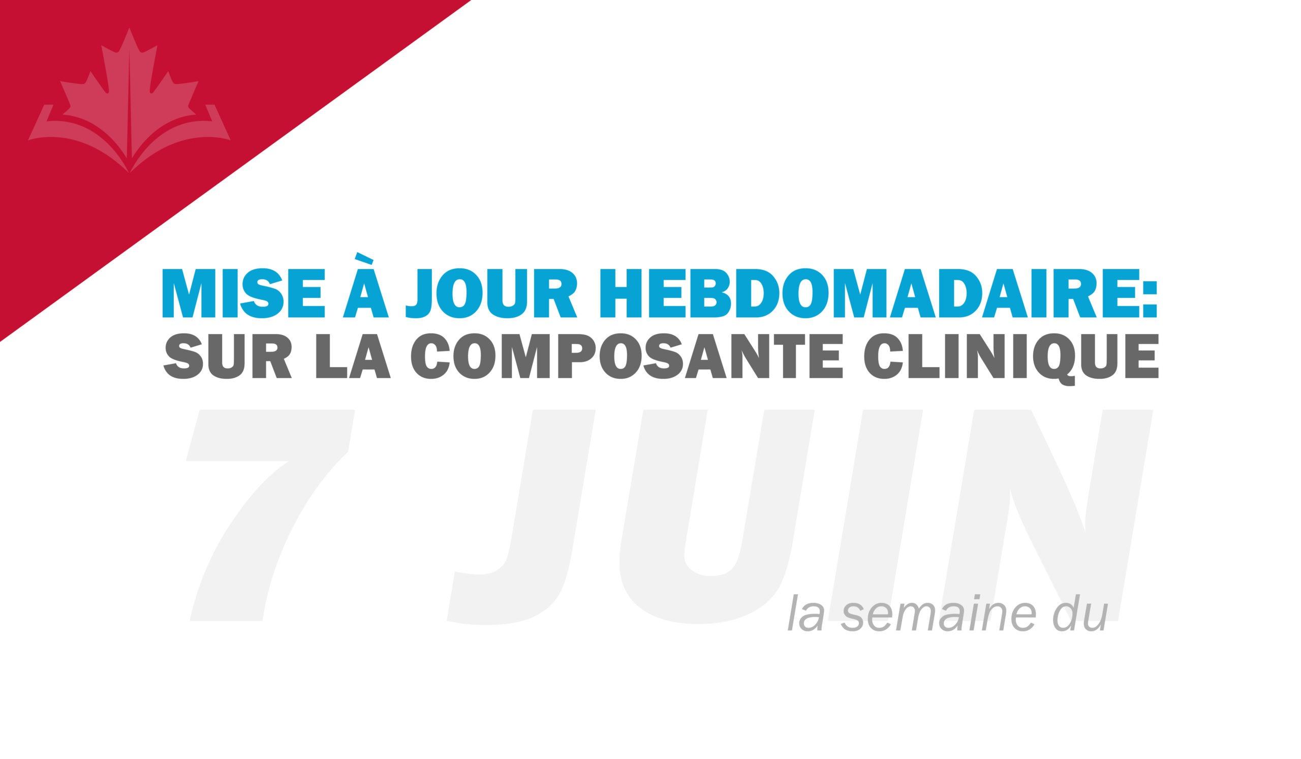 Mise à jour hebdomadaire sur la composante clinique : semaine du 7 juin