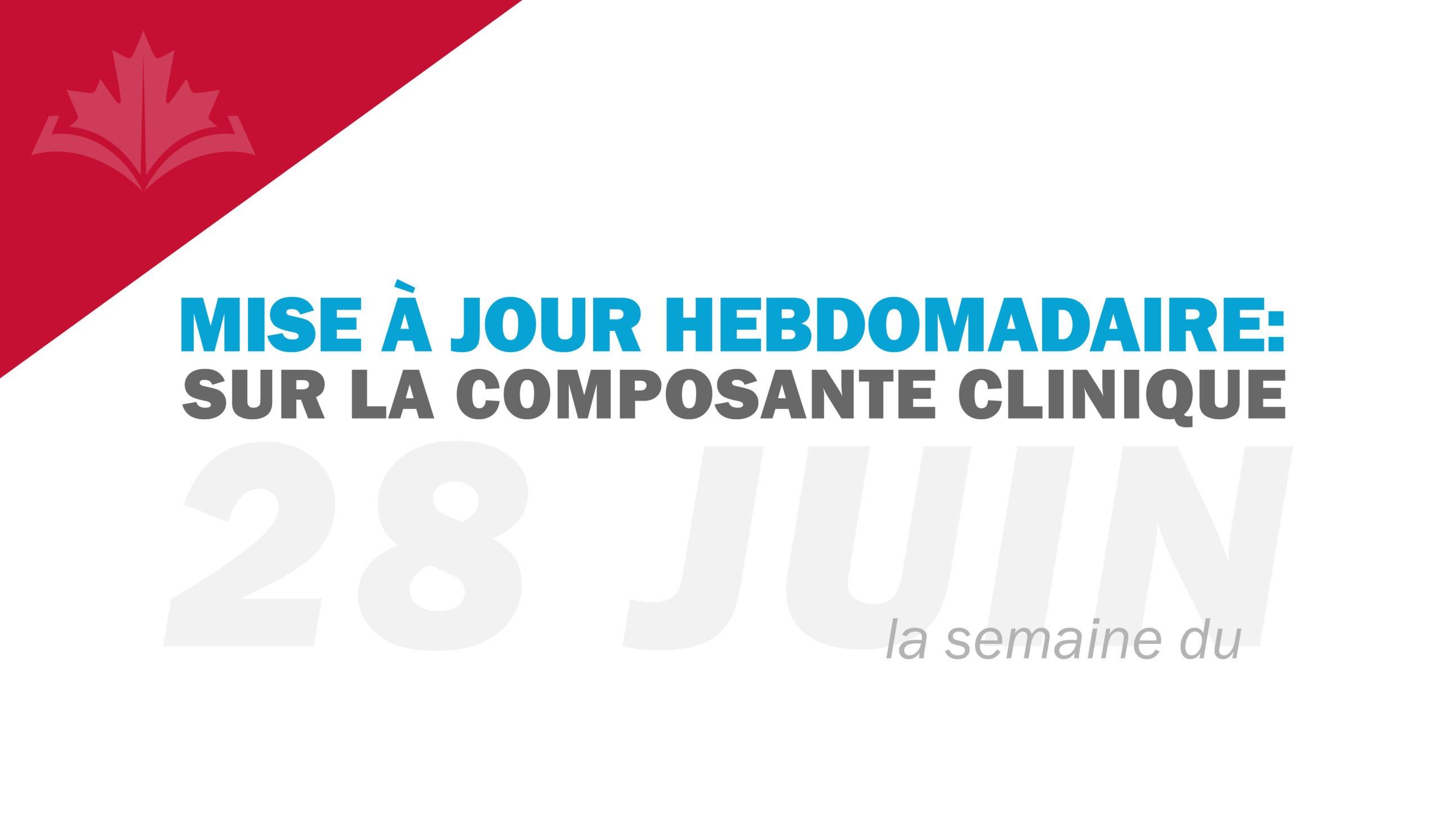 Mise à jour hebdomadaire sur la composante clinique : semaine du 28 juin