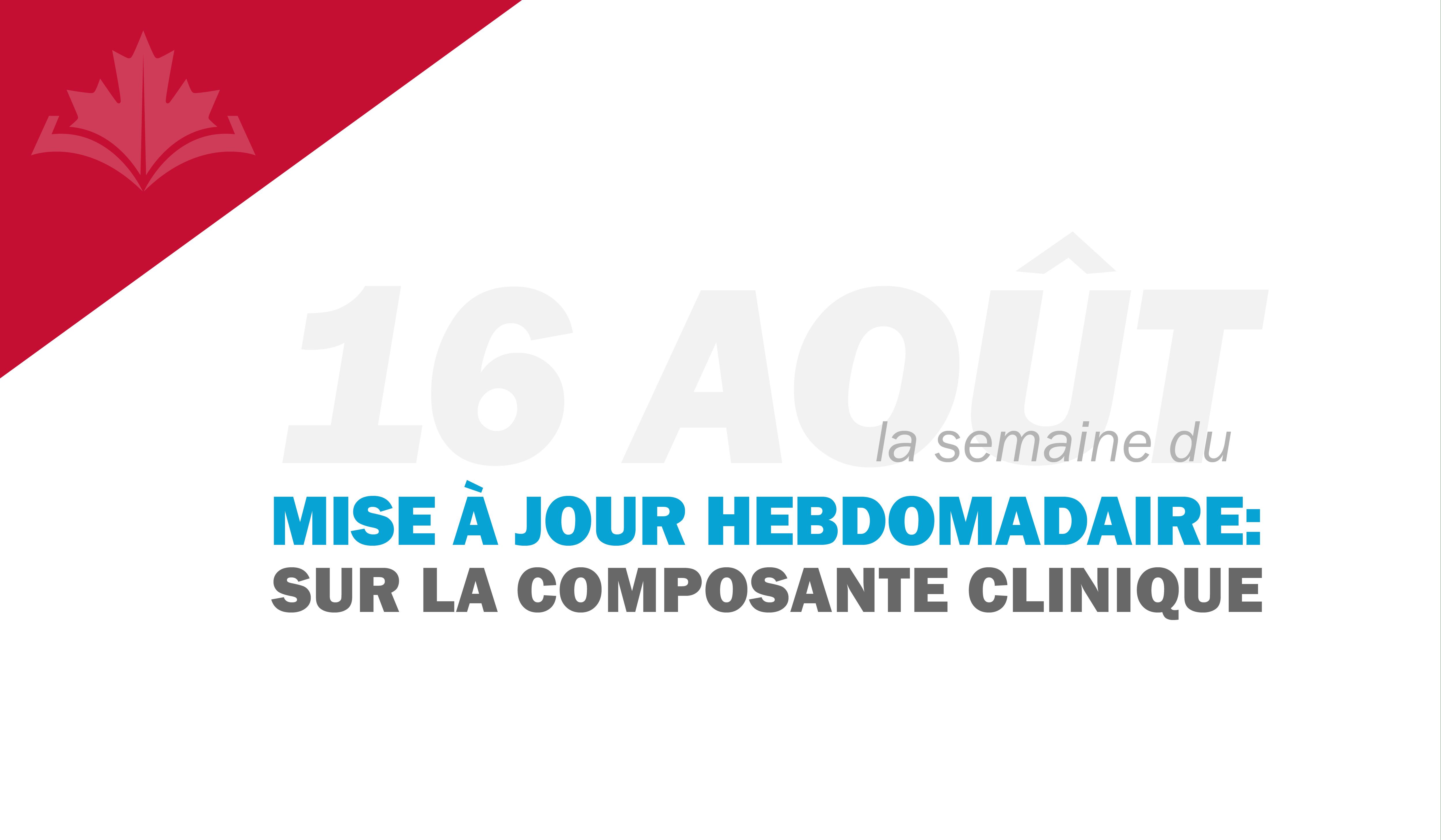Bulletin concernant la composante clinique : semaine du 16 août 2021